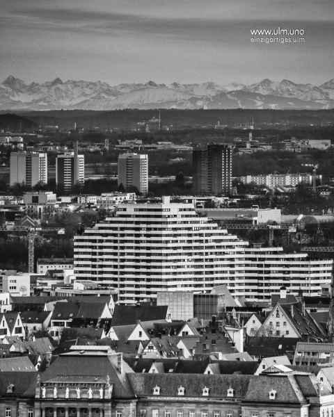 Alpensicht von Ulm - über das Donaucenter