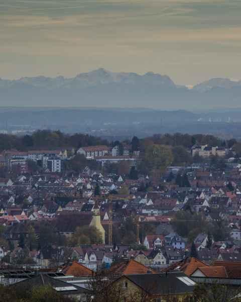 Ulm - die Alpen im Hintergrund