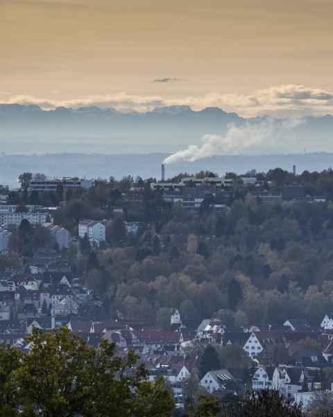 Von Ulm aus die Berge sehen