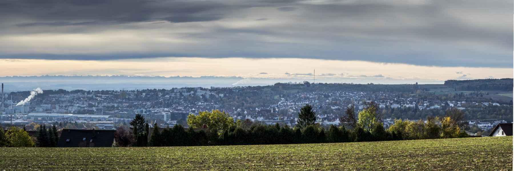 So kann man bei Fön von Ulm aus die Alpen sehen